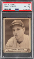 Baseball Cards:Singles (1940-1949), 1940 Play Ball Tommy Henrich #4 PSA NM-MT 8 - Pop Two, One Higher....