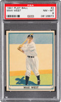 Baseball Cards:Singles (1940-1949), 1941 Play Ball Max West #2 PSA NM-MT 8 - Only One Higher....