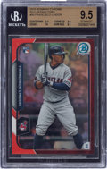 Baseball Cards:Singles (1970-Now), 2015 Bowman Chrome Rookie Red Refractor Francisco Lindor #89 3/5 BGS GEM MINT 9.5. ...