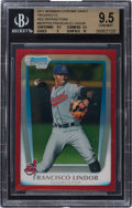 Baseball Cards:Singles (1970-Now), 2011 Bowman Chrome Draft Prospects Red Refractors Francisco Lindor #BDPP53 4/5 BGS GEM MINT 9.5. ...