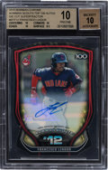 Baseball Cards:Singles (1970-Now), 2015 Bowman Chrome Rookie Scouts Top 100 Autos Die Cut Superfractors #BTP12 Francisco Lindor 1/1 BGS Pristine 10, Auto 10. ...
