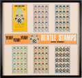 Music Memorabilia:Memorabilia, The Beatles Original Set of Stamps with Promotional Banner in Mat & Frame (Hallmark, 1964). ...