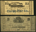 Obsoletes By State:Louisiana, Pointe Coupee, LA- Parish of Pointe Coupee 25¢ Mar. 24, 1862; $3 ND (circa 1862) Very Fine or Better.. ... (Total: 2 notes)