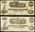 Confederate Notes:1862 Issues, T40 $100 1862 Two Examples Fine-Very Fine; Very Fine-Extremely Fine.. ... (Total: 2 notes)