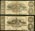 Confederate Notes:1863 Issues, T59 $10 1863 Two Examples Fine; Extremely Fine.. ... (Total: 2 notes)