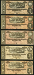 Confederate Notes:1864 Issues, T68 $10 1864 Five Examples Very Fine or Better.. ... (Total: 5 notes)