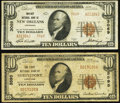 National Bank Notes:Louisiana, New Orleans, LA - $10 1929 Ty. 2 Whitney National Bank Ch. # 3069 Fine-Very Fine;. Shreveport, LA - $10 1929 Ty.... (Total: 2 notes)