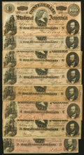 Confederate Notes:1864 Issues, T65 $100 1864 Eight Examples Very Fine or Better.. ... (Total: 8 notes)