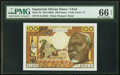 World Currency, Equatorial African States Banque Centrale, Chad 100 Francs ND (1963) Pick 3a PMG Gem Uncirculated 66 EPQ.. ...