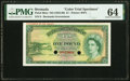 World Currency, Bermuda Bermuda Government 1 Pound ND (1952-66) Pick 20cts Color Trial Specimen PMG Choice Uncirculated 64.. ...