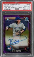 Baseball Cards:Singles (1970-Now), 2016 Bowman Chrome Draft Pick Bo Bichette #CDA-BOB Purple Autograph Refractor #112/250 PSA GEM MINT 10. ...