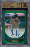 Baseball Cards:Singles (1970-Now), 2013 Bowman Chrome Draft Pick Aaron Judge #AJ Green Refractor Autograph 74/75 BGS GEM MINT 9.5 -Auto 10. ...