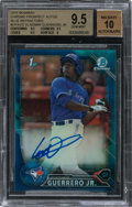 Baseball Cards:Singles (1970-Now), 2016 Bowman Chrome Prospects Vladimir Guerrero Jr. #CPA- VG Blue Auto Refractor 45/150 BGS GEM MINT 9.5 - Auto 10. ...