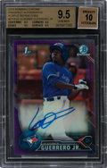 Baseball Cards:Singles (1970-Now), 2016 Bowman Chrome Prospects Vladimir Guerrero Jr. #CPA-VG Purple Auto Refractor 32/250 BGS GEM MINT 9.5 - Auto 10. ...