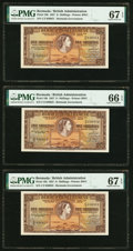 World Currency, Bermuda Bermuda Government 5 Shillings 1.5.1957 Pick 18b Three Consecutive Examples PMG Gem Uncirculated 66 EPQ; Superb Ge... (Total: 3 notes)