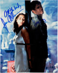Movie/TV Memorabilia:Autographs and Signed Items, Raiders of the Lost Ark Color Scene Photo Signed by Karen Allen and Harrison Ford. ...