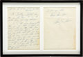 Movie/TV Memorabilia:Documents, Marilyn Monroe Handwritten and Signed Two-Page Letter (1954)....