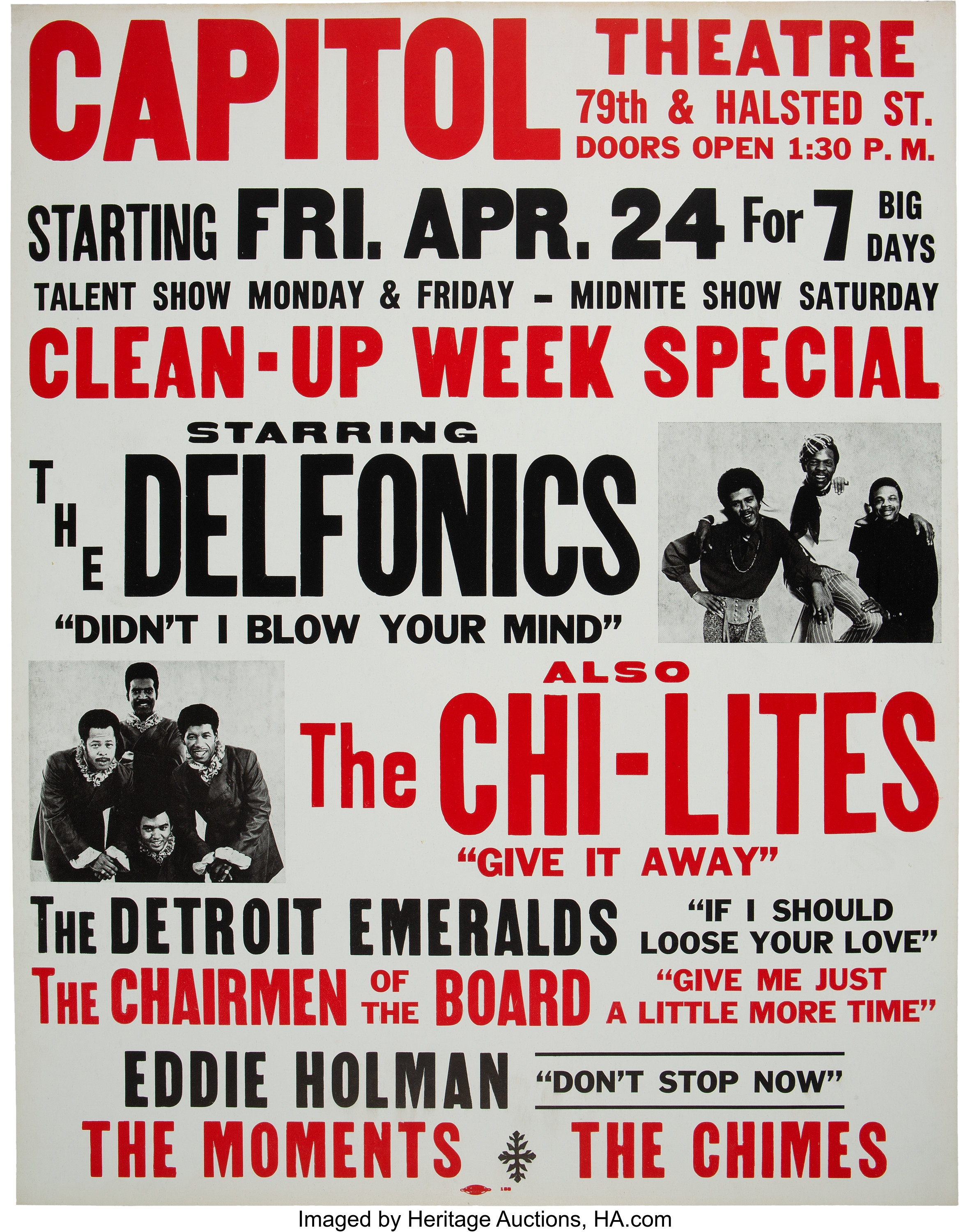 Chi-Lites / Delfonics / Chairmen of the Board 1970 Chicago Jumbo | Lot  #89526 | Heritage Auctions