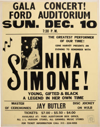 """Nina Simone """"The Greatest Performer of Our Time"""" 1972 Detroit Concert Poster"""