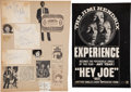 Music Memorabilia:Autographs and Signed Items, The Jimi Hendrix Experience Signed and Inscribed Slips of Paper With Various Clippings....