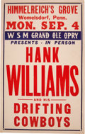 """Music Memorabilia:Posters, Hank Williams 1950 """"WSM Grand Ole Opry"""" Boxing-Style Concert Poster...."""