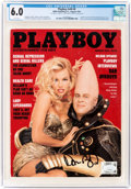 Movie/TV Memorabilia:Autographs and Signed Items, Playboy V40#8 Signed by Dan Aykroyd (HMH Publishing, 1993) CGC FN 6.0 White pages....
