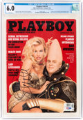Movie/TV Memorabilia:Autographs and Signed Items, Playboy V40#8 Signed by Pamela Anderson (HMH Publishing, 1993) CGC FN 6.0 White pages....