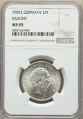 German States:Saxony, German States: Saxony. Albert 2 Mark 1901-E MS65 NGC,...