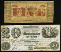 Obsoletes By State:Louisiana, New Orleans, LA- Municipality No. Two $20 Nov. 1, 1843 Extremely Fine;. St. Martinsville, LA- Parish of St. Martin $... (Total: 2 notes)