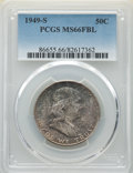 Franklin Half Dollars: , 1949-S 50C MS66 Full Bell Lines PCGS. PCGS Population: (228/12). NGC Census: (42/8). CDN: $320 Whsle. Bid for NGC/PCGS MS66...