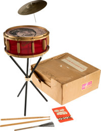 The Beatles Super Ringo Starr Drum Kit in Original Box with Stand, Cymbal,Brush,Sticks & Pamphlet (Selcol UK,1964)...