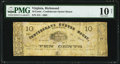 Obsoletes By State:Virginia, Richmond, VA- Confederate Oyster House 10¢ Feb. 3, 1862 J-L PR60-181 PMG Very Good 10 Net.. ...
