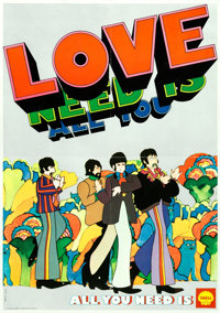 "Yellow Submarine (Shell Oil, 1969). Folded, Very Fine+. Tie-In Belgian Poster (15"" X 21.25""). Heinz Edelmann A..."
