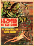 """Movie Posters:Horror, Creature from the Black Lagoon (Universal International, R-1962). Very Fine on Linen. French Moyenne (23.25"""" X 31""""). . ..."""