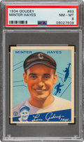 Baseball Cards:Singles (1930-1939), 1934 Goudey Minter Hayes #63 PSA NM-MT 8 - Only Two Higher. ...