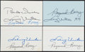 Autographs:Index Cards, Johnny Unitas & Raymond Berry Multi-Signed Index Cards, Lot of 4....