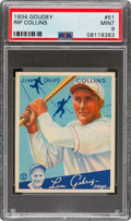 Baseball Cards:Singles (1930-1939), 1934 Goudey Rip Collins #51 PSA Mint 9 - Pop Four, None Higher. ...