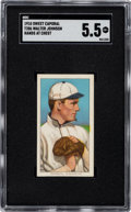Baseball Cards:Singles (Pre-1930), 1909-11 T206 Sweet Caporal 350/30 Walter Johnson (Hands At Chest) SGC EX+ 5.5. ...