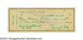 Autographs:Checks, 1955 Ty Cobb Signed Check The Georgia Peach's preferred ...