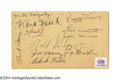 Autographs:Post Cards, 1934 St. Louis Cardinals - Cincinnati Reds Signed Government ... (2items)