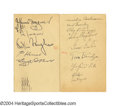 Autographs:Post Cards, 1935 Honus Wagner - Mickey Cochrane Signed Government ... (2 items)