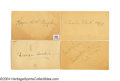 Autographs:Post Cards, Mid-1930s Hall of Famers Signed Government Postcard ... (4 items)