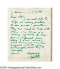Autographs:Letters, 1954 Ty Cobb Handwritten Letter Though his reputation for ...
