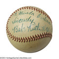 Autographs:Baseballs, 1934 Babe Ruth Single Signed Baseball from the Tour of Japan