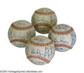 Autographs:Baseballs, 1976 San Francisco Giants Team Signed Baseballs (4) Four ... (4items)