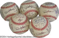 Autographs:Baseballs, 1997 San Francisco Giants Team Signed Baseballs (5) Four ... (5pieces)