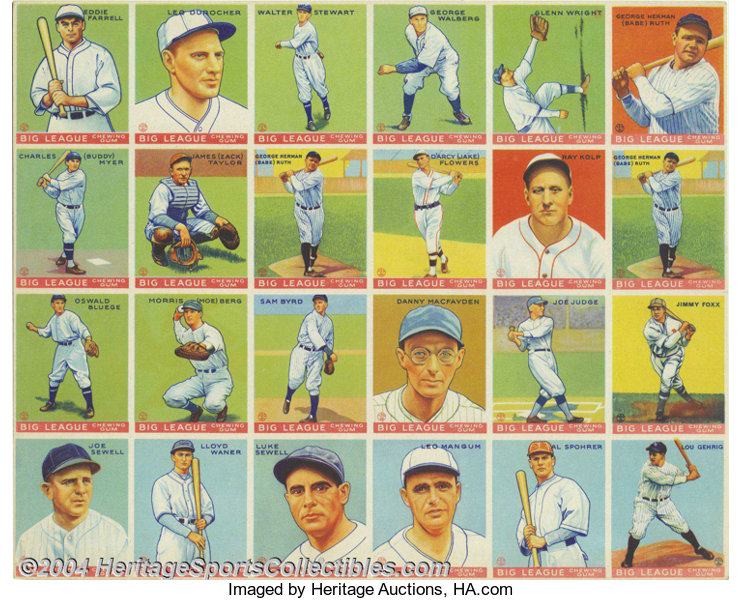 1933 Goudey Big League Triple Babe Ruth Uncut Sheet The