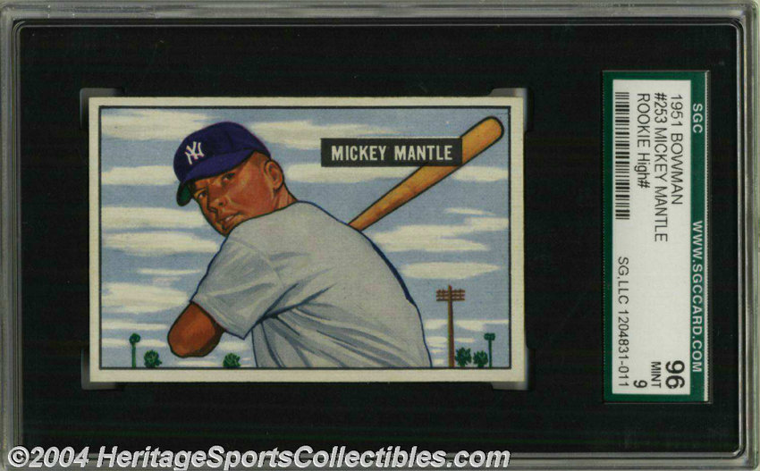 1951 Bowman Mickey Mantle 253 Sgc Mint 96 This Card Is A