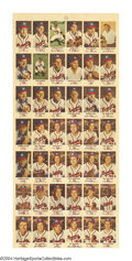 Baseball Cards:Lots, 1954 Johnston Cookies Braves Uncut Sheet With only 316 ...