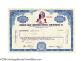 Baseball Cards:Singles (1930-1939), 1965 Boston Patriots Stock Certificate An incredibly ...